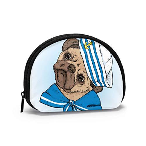 Monedero para Mujer Un Hermoso Perro en Ropa de Marinero Monedero con Cremallera Monedero con Cremallera Llavero con Cremallera Mini Bolsas de Maquillaje cosmético para Mujeres Niñas Regalos y Decora