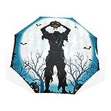 LASINSU Regenschirm,Horror Halloween Toter Mann Zombie mit Kürbis Laterne Kopf Fledermaus Spinne...