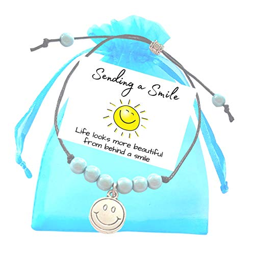Smiley Friend Adjustable Aqua Miracle Bead Bracelet with Smiley Face Emoji Charm, Small Verse Card and Gift Bag - Friendship Wish Bracelet for Special Occasion or Birthday