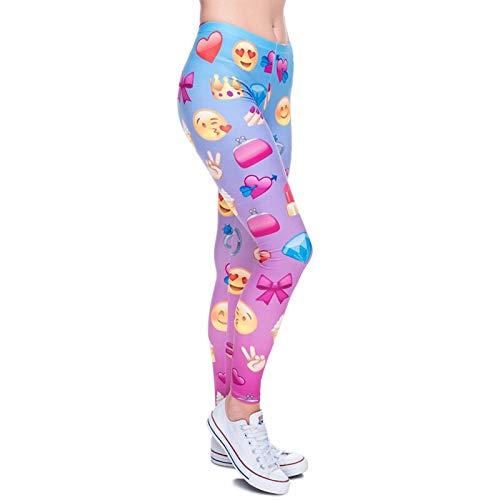MAOYYMYJK Emoji Heart Lila Print Damen Leggings Fitness Atmungsaktiv Schweiß Schnell trocknend Leggins Hohe Elastizität Hosen Hosen