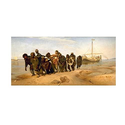 Lefgnmyi Los barqueros del Volga, pintura de fama mundial, pintura rusa moderna para el hogar, arte de pared, póster, decoración de pared, 16x48 pulgadas, sin marco