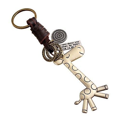 Qinlee Vintage Schlüsselbund Webart Leder Anhänger Giraffe Form Gestalten Anhänger Kreativ Schlüsselbund Bronzelegierung Anhänger Rucksack Handtasche Zubehör