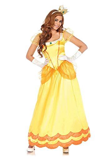 Leg Avenue 2 Piece Sunflower Princess Full Length Satin Dress with Crown Costume Set for Women, Yellow/Orange, X-Large