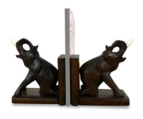 livasia Elefanten Buchstützen, Buchständer, Buchaufsteller, Holzbuchstützen, Tablethalter (Handarbeit)
