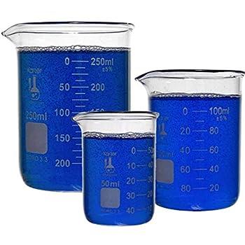 Karter Scientific 214T2 3.3 Boro Griffin Low Form Glass Beaker Set - 3 Sizes - 50ml 100ml 250ml