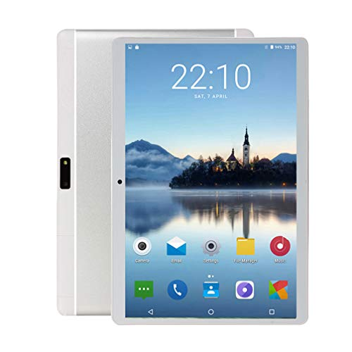 10 inch Android Tablet Pc, 4GB RAM 64GB ROM, Octa -Core Processor,5G-WiFi,3G Phone Call,Dual SIM Cards,GPS,Bluetooth,E6 (Silver)