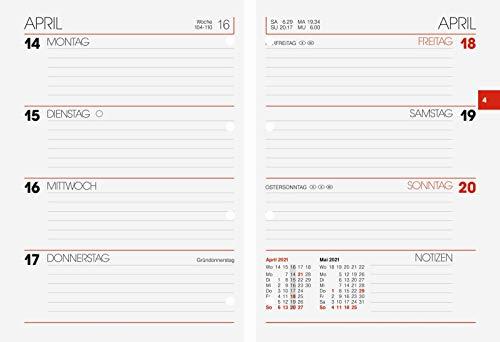 BRUNNEN 1073127001 Timer Ringbucheinlage Modell 731, 2 Seiten = 1 Woche, 10 x 14 cm, Kalendarium 2021