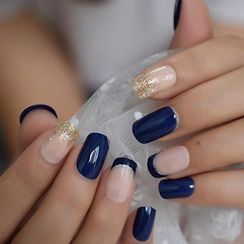 Manucure de conception brillante de taille moyenne bleu royal élégant paillettes Français faux ongles couvrant complètement les faux ongles artificiels adultes