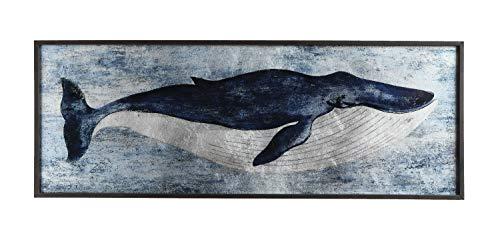 Creative Co-Op Blue Whale Wood Décor Wall Decor, Grey