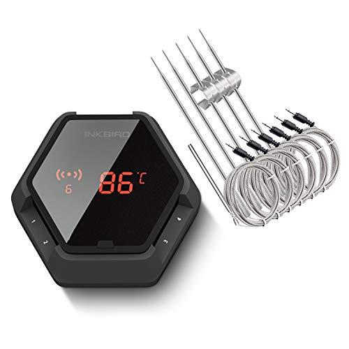Inkbird IBT-6XS Grillthermometer mit 6 Sonden, Magnetisch BBQ Thermometer Bluetooth Fleischthermometer mit 1000mAh Li-Batterie, Bratenthermometer mit 180 Grad Bildschirmanzeige Drehen für BBQ,Backofen