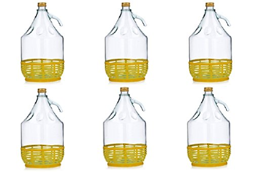 Unbekannt 6 STÜCK 5L GLASBALLON mit Kunststoffkorb Weinballon GÄRBALLON GLASFLASCHE