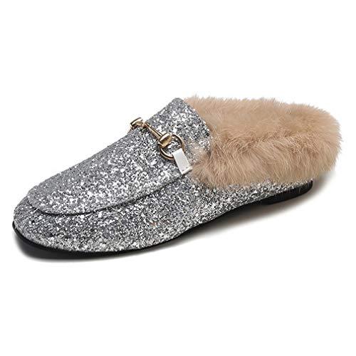 Womens Glitter Mule Slides with Plush Fur Velvet Backless Square Toe Slip On Loafers Sliver
