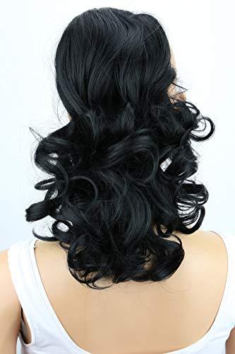 PRETTYSHOP 30cm Haarteil Zopf Pferdeschwanz Haarverlängerung Voluminös Gewellt Schwarz PH1a