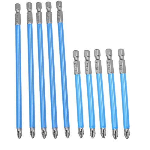 JIAN LIN 10 unids antideslizante 1/4'Hex Shank Impactar Destornillador largo Destornillado Juego de brocas de 150 mm / 90 mm Accesorios de herramientas eléctricas