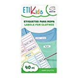 ETIKIDS 40 Etiquetas para ropa personalizables, de colores, para la guardería y...