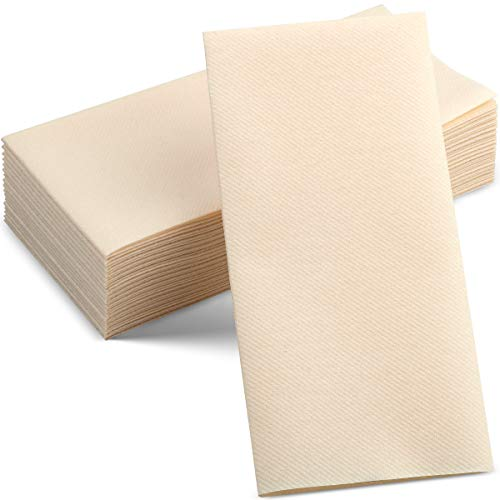 100 Linen-Feel Colored Paper Napkins - Decorative Cloth-Like Caramel Dinner Napkins - Soft And Absorbent. For Kitchen, Party, Wedding, Bathroom Or Any Occasion. (Pack of 100)