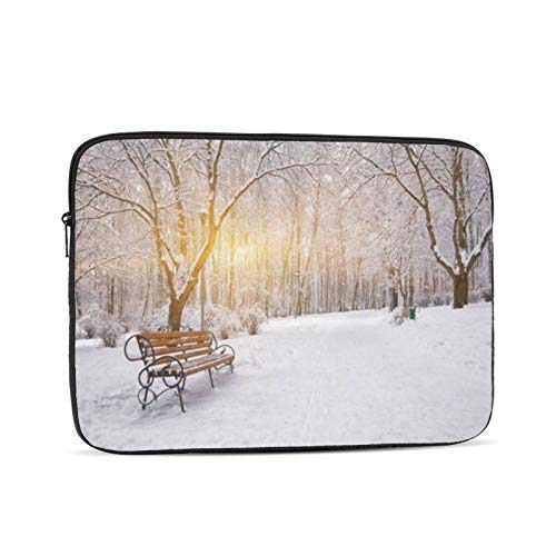 Snow Covered Trees And Benches In The City Park Sunset Zipper Laptop Sleeve Case Notebook Computer Bag portable Universal Case Sleeve Polyester for 10 Inch