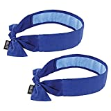 Ergodyne Chill Its 6700CT Cooling Bandana, Lined with Evaporative PVA Material for Fast Cooling Relief, Tie for Adjustable Fit, Blue, 2-Pack