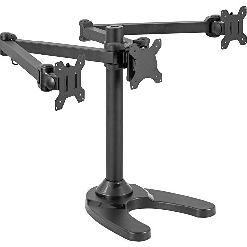 VIVO Triple LED LCD Computer Monitor Free Standing Desk Mount with Base, Heavy Duty Fully Adjustable Stand for 3 Screens up to 32 inches, STAND-V103F