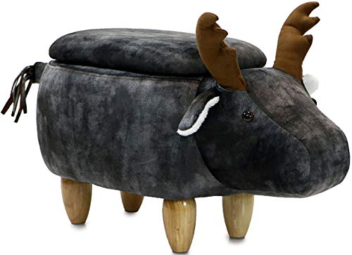 "Critter Sitters Dark 15"" Seat Height Animal Storage Gray Elk-Faux Leather Look-Durable Legs-Furniture for Nursery, Bedroom, Playroom & Living Room-Décor Ottoman"