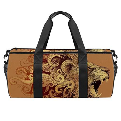 ASDFSD Sporttasche mit wasserdichter Tasche, Reisetasche, Wochenendtasche, Tattoo-Kopf, grinsende Löwenmähne