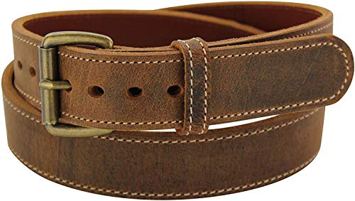 Rustic Brown Stitched Water Buffalo Steel Core Gun Belt - Made in USA, 38