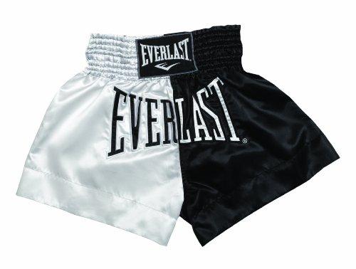 Everlast House EM7, Pantalón de thai boxing, Hombre, Blanco/Negro, S