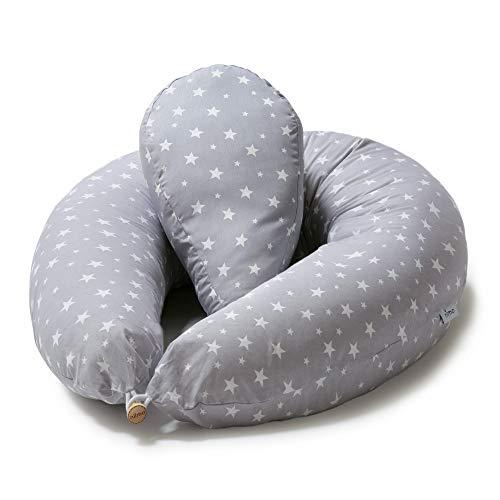 Niimo Almohada Embarazada y Cojin Lactancia Bebe + Soft Cojìn Dormir y Abrazar Funda Cojines 100% Algodon Desenfundable y Lavable (Gris-Estrella Blanca)