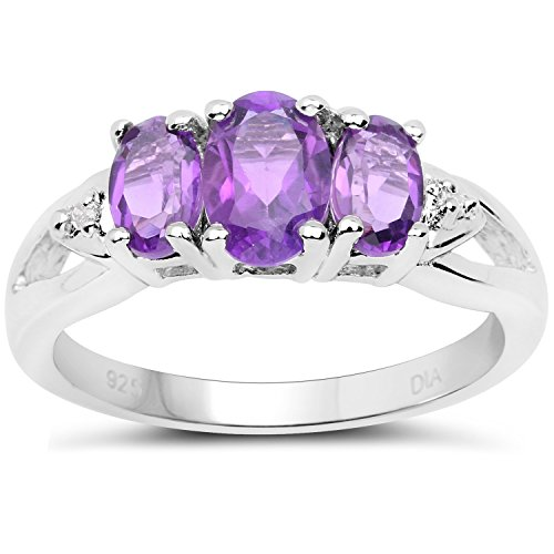 The Diamond Amethyst Collection: Sterling Silver 3 Stone Amethyst Engagement Ring with Diamond set Shoulders (Size L)