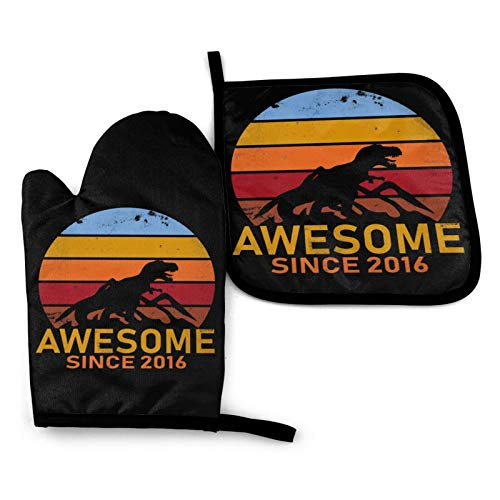 Awesome Since 2016 Heat Resistant Oven Mitts and Pot Holders Set for Kitchen Baking BBQ, for Men Women Children Kids