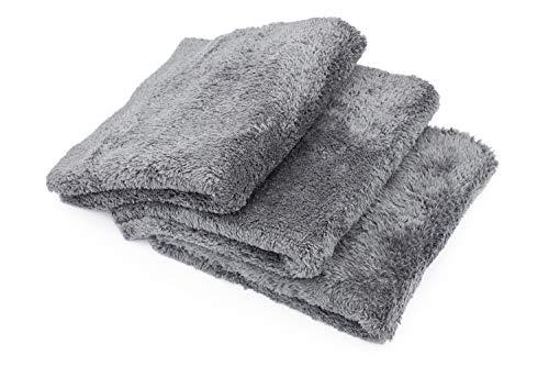 THE RAG COMPANY (3-Pack) Eagle EDGELESS 600 Professional Korean 70/30 Super Plush 600gsm Microfiber Detailing Towels (16x16, Dark Grey)
