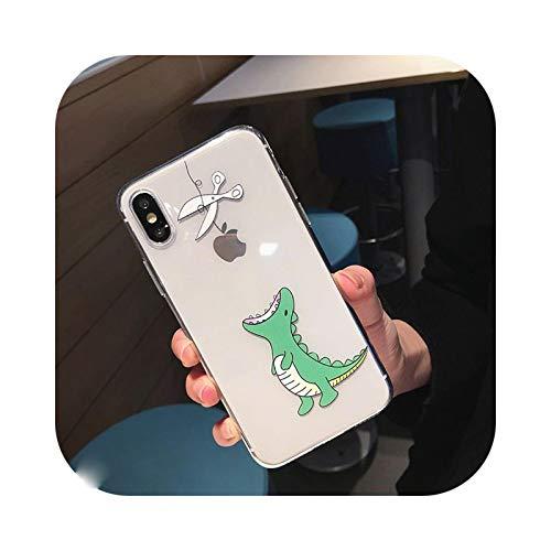 Carcasa para iPhone 12, diseño de dinosaurio, hipopótamo claro para iPhone 11 Pro Max X XS XR 12 Mini 7 8 Plus, flexible, transparente