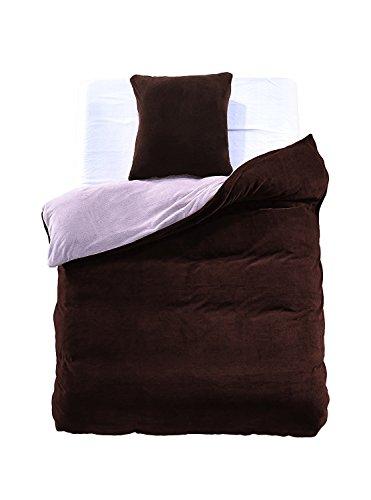 Cama con 1o 2fundas de almohada 80x 80microfibra suave caliente invierno cálido Edredón de cama marrón acero Brown Steel Furry, microfibra, stahl braun, 135 x 200 cm