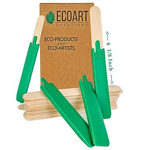 Ecoart Solutions Varillas reutilizables para resina y epoxi, 4 cubiertas de silicona y 24 palillos de madera para mezclar y mezclar pintura, epoxi, resina y verde aceite