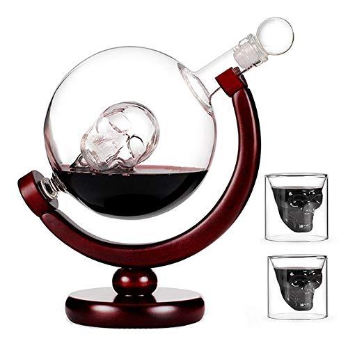 DEDECP Juego de Jarra de Whisky de Vidrio, Jarra de Globo de 850 ml con tapón de Vidrio, 2 Vasos de Globo Grabados, Padre y Esposo