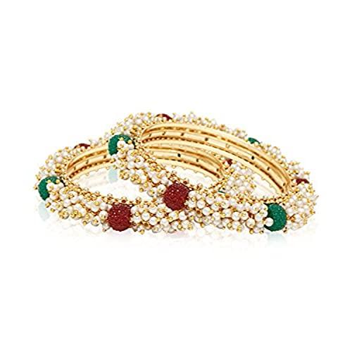 Efulgenz Juego de pulseras de perlas étnicas tradicionales de Bollywood de la India con tachuelas y joyas de boda para mujer