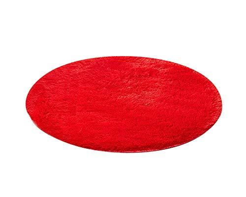 PengGengA Tapis Rond Anti-Dérapant Décor Chambre Et Salon Rouge 120 * 120CM