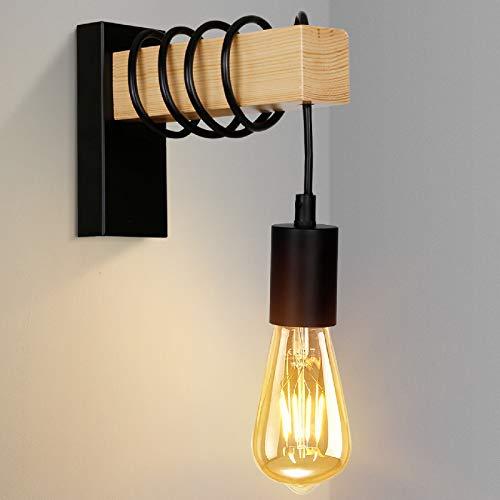 Albrillo Lámpara de Pared de Madera E27 - Lámpara de Vintage Industrial...