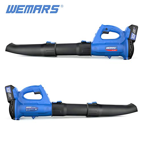 WEMARS Leaf Blower Cordless Leaf Blower Electric Handheld PowerfulLightweight Variable Speed Leaf Blower with 21V Lithium 4.0Ah Battery and Charger for Dusting Clearing Blowing Leaf/Snow (1 Battery)