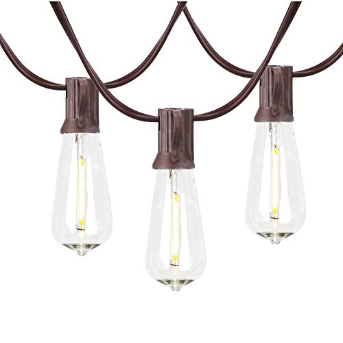 20Ft Outdoor LED Patio String Lights with 21 Shatterproof Edison Bulbs, C9/E17 Screw Base, ST40 LED String Lights UL Listed for Patio Backyard Garden Bistro Porch String Lights-Brown Wire