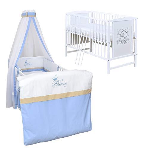 Baby Delux Babybett Komplett Set Kinderbett Mia weiß 120x60 Bettset mit Stickerei Matratze in vielen Designs (Prince)