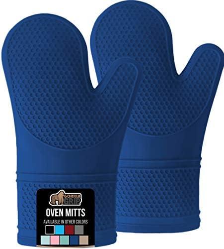 Gorilla Grip Premium Silicone Slip Resistant Oven Mitt Set Soft Flexible Oven Gloves Heat Resistant product image