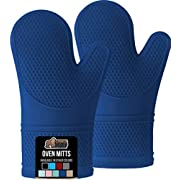 Gorilla Grip Slip Resistant Silicone Oven Mitts with Soft Quilted Lining, Heat Resistant Waterproof Flexible Gloves for Cooking and BBQ, Oven Mitt Potholders, Kitchen Décor, Blue Pair, Set of 2