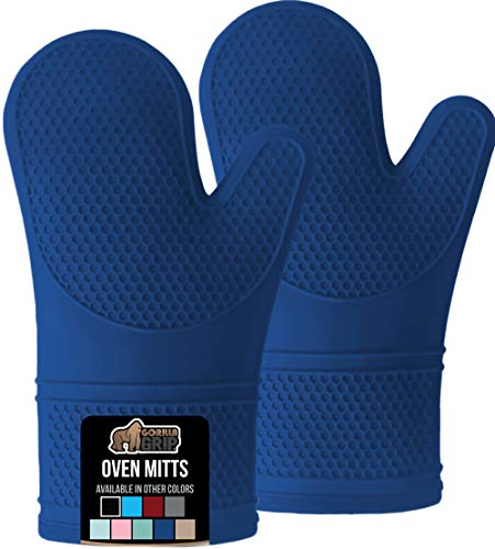 Gorilla Grip Premium Silicone Slip Resistant Oven Mitt Set Soft Flexible Oven Gloves Heat Resistant Kitchen Cooking Mitts Protect Hands from Hot Stove Surfaces Cookie Sheets Blue Pair Set of 2