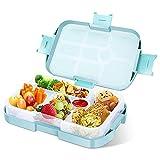 Gobesty Kinder Bento Box, 920 ml Lunchbox Kinder Bento Box mit 6 Unterteilungen Fächern, Lunchbox für Kinder, Praktische Jausenbox für Schule, Arbeit, Picknick, Reise, Junge (Blau)