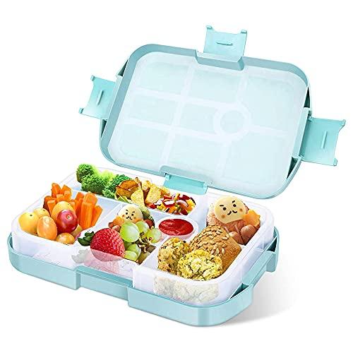 Gobesty Fiambrera Bento para niños, 920 ml, con 6 compartimentos, fiambrera para niños, práctica caja para el colegio, el trabajo, el pícnic, viajes, niño (azul)