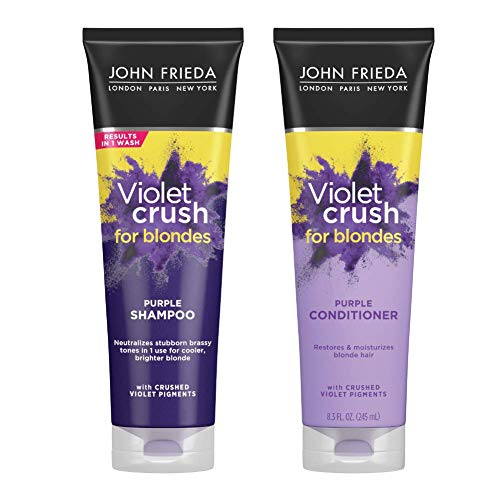 John Frieda Violet Crush Purple Shampoo + Conditioner, 8.3 Ounce Shampoo and Conditioner for Brassy Blonde Hair, with Violet Pigments (Pack of 2)