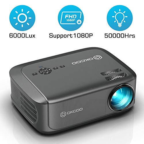OKCOO Video Projector, Full HD 1080P 6000 lux 200' Display Home Theater Business Office Overhead Projector for Presentation Compatible with PC, Laptop, TV Stick, PS4, HDMI, VGA, TF, USB, AV, Gray