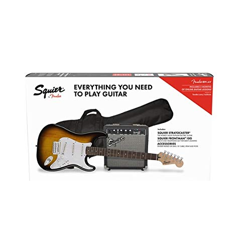 Squier by Fender Stratocaster Beginner Pack, Laurel Fingerboard, Brown Sunburst, with Gig Bag, Amp, Strap, Cable, Picks, and Fender Play