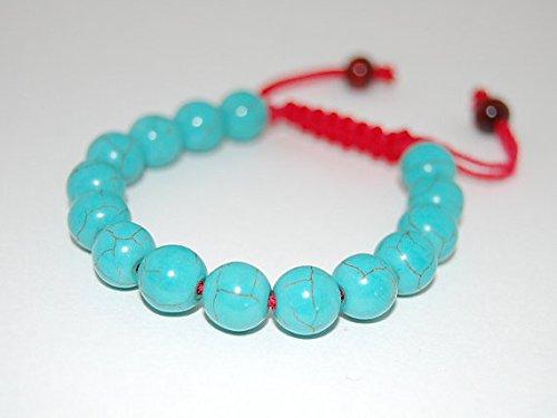 LOVEKUSH Venta al por mayor 10 mm ajustable azul turquesa pulsera redonda, lisa 7.5 pulgadas para hombres, mujeres, gf, bf y adultos.